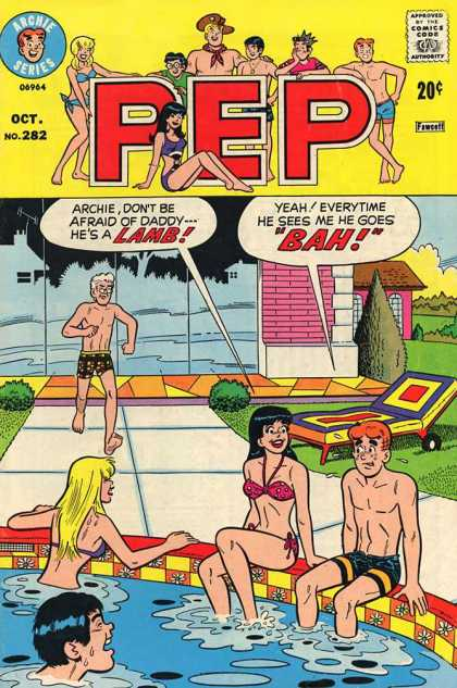 Pep Comics 282 - Pool - Swimming - Father - Archie - Bathing Suits