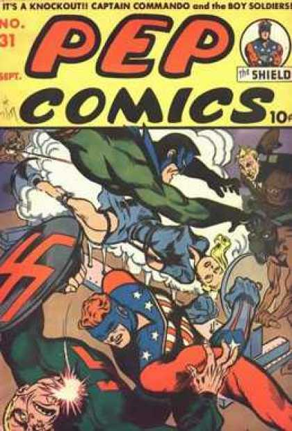 Pep Comics 31 - Fight - Trouble - Chaos - Superheroes - Punch