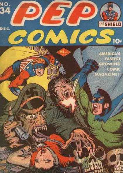 Pep Comics 34 - The Shield - Pep Comics - Americas Fastest Gorwing Comic Magazine - No 34 - December