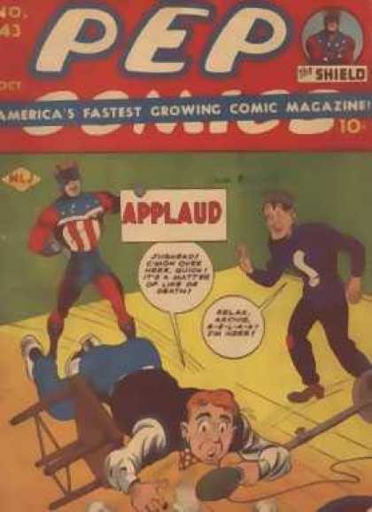 Pep Comics 43 - Applaud - Archie - The Shield - Stage - Microphone