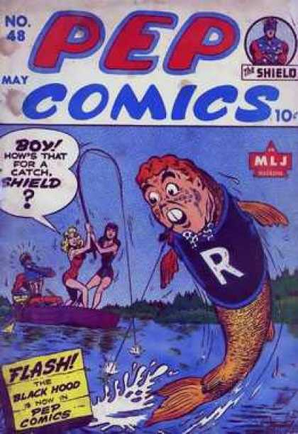 Pep Comics 48 - Cartoons - Ladies - Man - Fish - River