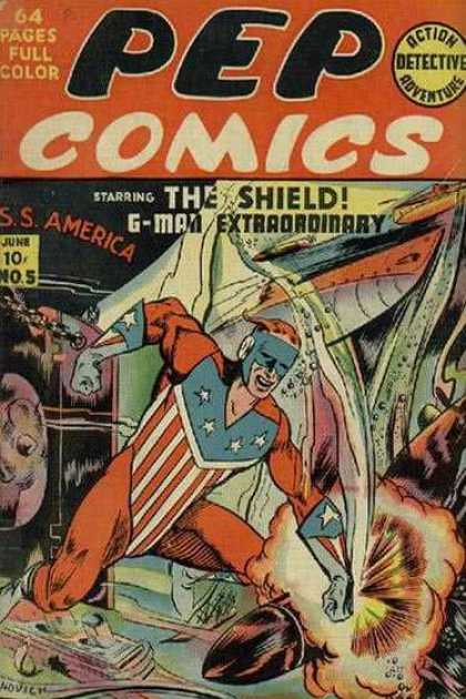 Pep Comics 5 - Shield - Action Detective Adventure - Bullet - G-man Extraordinary - June