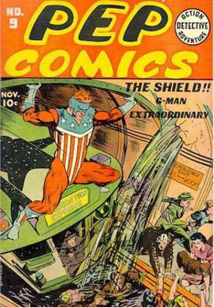 Pep Comics 9 - Train - The Shield - G-man Extraordinary - No 9 - People