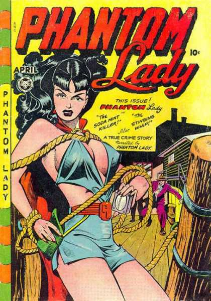 Phantom Lady 17 - Busty Vamp - Flowing Black Hair - Ropes - Thug - Wooden Planks And Posts - Matt Baker