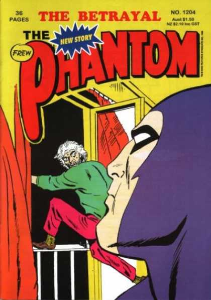 Phantom 1204 - Betrayal Of The Phantom - Issue 1204 - Man Crawling Over Rail - Phantom Watching Man Leave - New Story