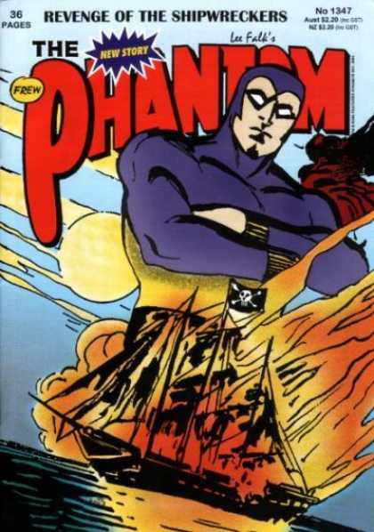 Phantom 1347 - Revenge Of The Shipwreckers - Pirate Ship - Fire - Ocean - Smoke - Dick Giordano, Jim Shepherd