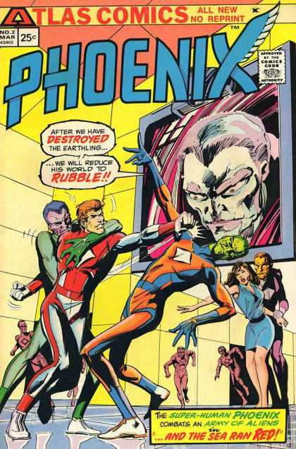 Phoenix 2 - Atlas Comics - Phoenix - Army Of Aliens - Giant Monitor - Green Man - Dick Giordano