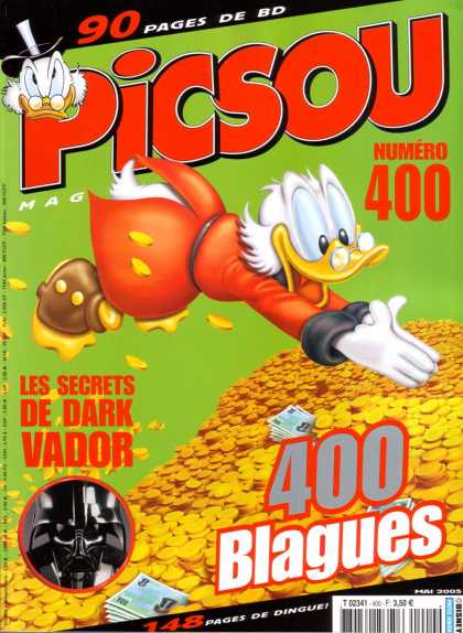 Picsou Magazine 19 - Darth Vader - Scrooge Mcduck - Diving Into Gold - Gold Coins - Greed