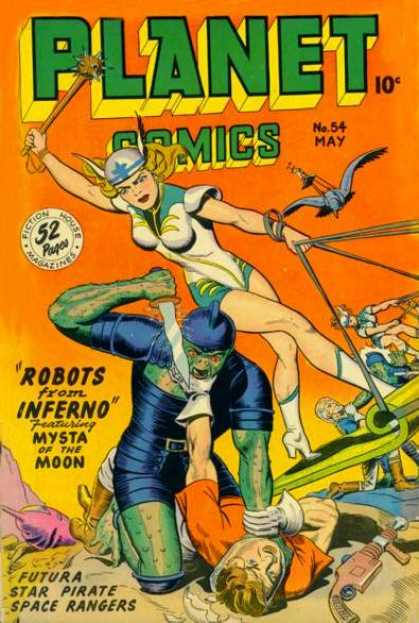 Planet Comics 54 - Robots From Inferno - Mysta Of The Moon - Dagger - Space Ship - Birds