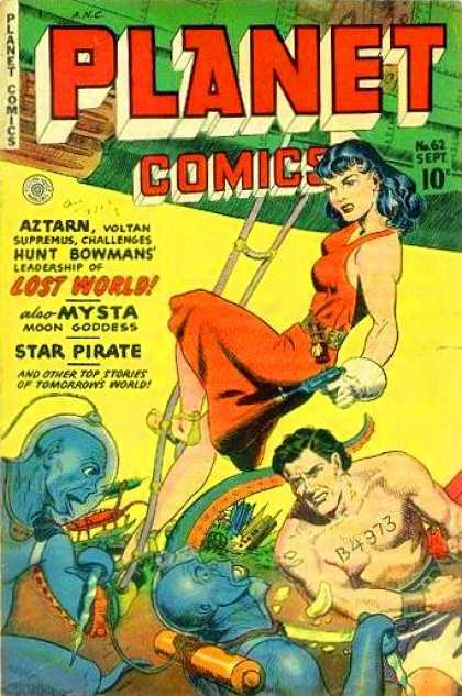 Planet Comics 62 - Man - Woman - Blue People - Numbers - Red Dress