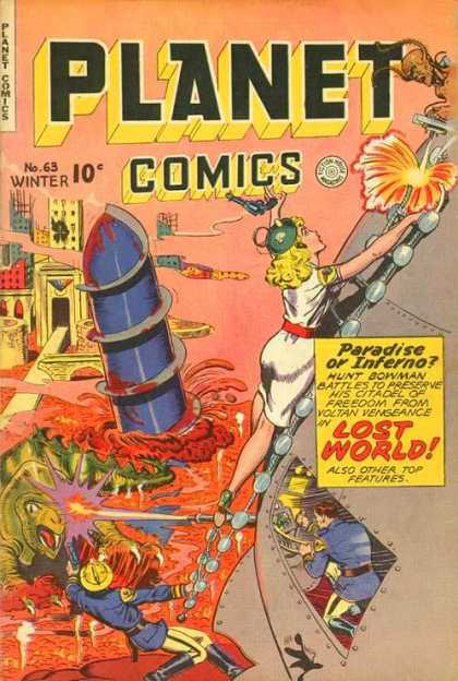 Planet Comics 63 - Lost World - Woman - Gun - Dinosaur - Fighting