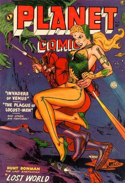 Planet Comics 66 - Reptile - Woman - Gun - Light Beam - Mountain