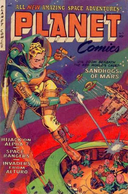 Planet Comics 71 - All New Amazing Space Adventures - Sandhogs Of Mars - Hijack On Alpha 7 - Spaceship - Laser Guns