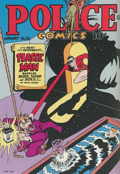 Police Comics 26 - Plastic Man - Scroll - Lantern - Arms - Rope