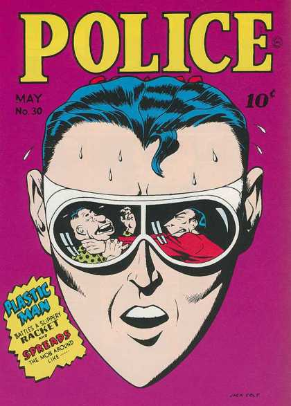 Police Comics 30 - Plastic Man - Glasses - Racket - Spreads - Face
