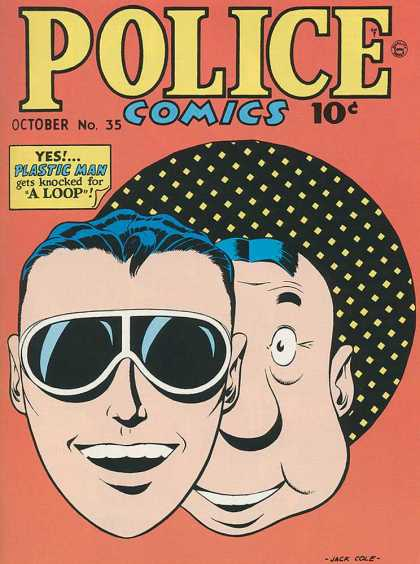 Police Comics 35 - Plastic Man - Knocked For A Loop - Sunglasses - Checked Hat - Two Men