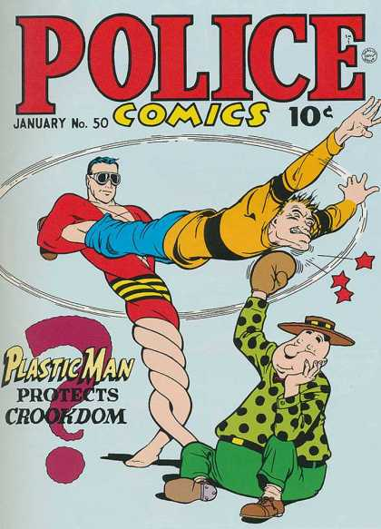Police Comics 50 - Boxing - Twisting - Fighting - Superstrong - Knockout