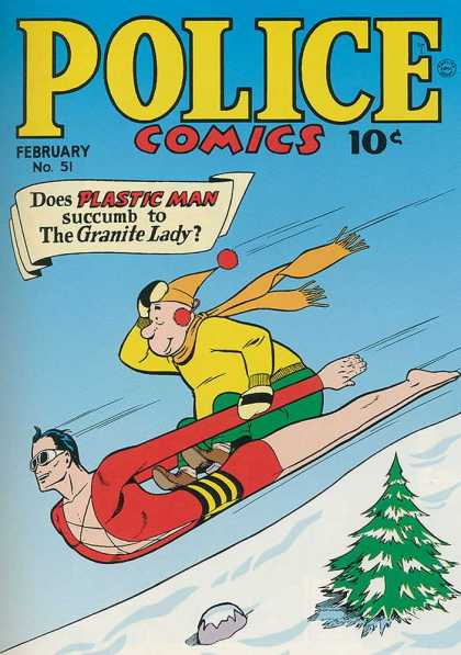 Police Comics 51 - Sledding - Winter - Plastic Man - Granite Lady - Pine Tree