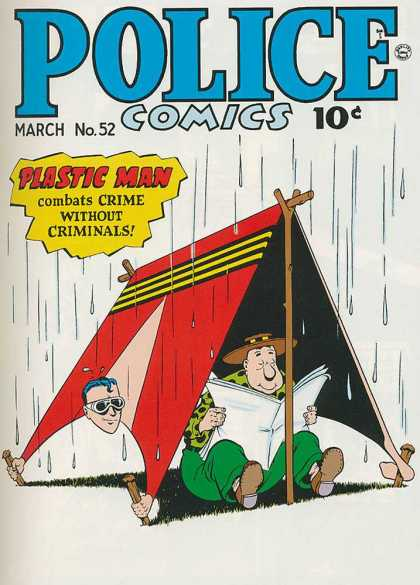 Police Comics 52 - Plastic Man - Crime Without Criminals - Reading Newspaper - Cap - Green Pant
