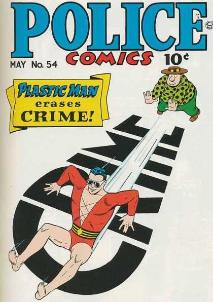 Police Comics 54 - Plastic Man - Erases Crime - Slides On The Ground - Being Pushed - Sunglasses