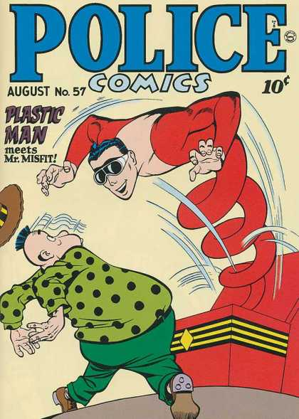 Police Comics 57 - Plastic Man - Mr Misfit - Villain - Surprise - Jack-in-the-box