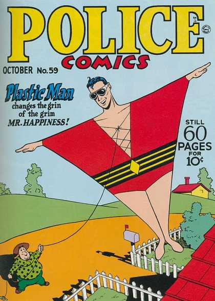 Police Comics 59 - Plastic Man - October - Still 60 Pages - Mr Happiness - Fence