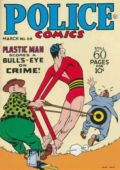 Police Comics 64 - Plastic Man - Bulls Eye - Arrow - Crime Fighting - Paint