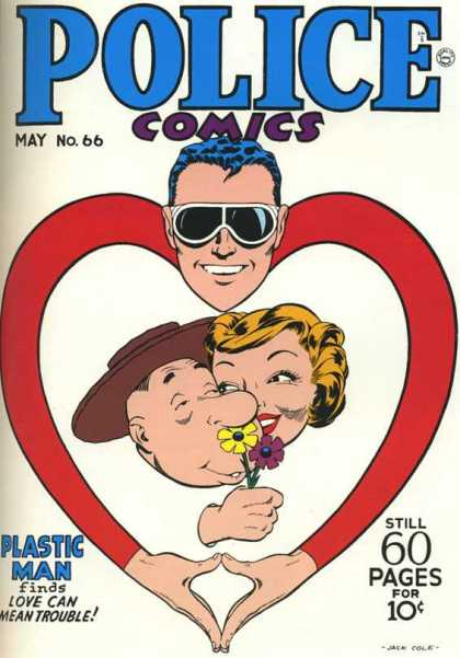 Police Comics 66 - Heart - Couple - Embrace - Flower Petals - Sunglasses