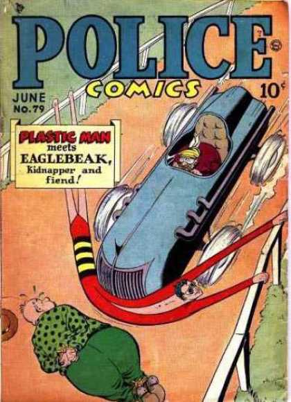 Police Comics 79 - Plastic Man - Eaglebeak - Car - Tied Up - Stopped