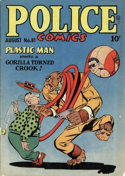 Police Comics 81 - Monkey - Fat Man - Hat - Yo Yo - Rope