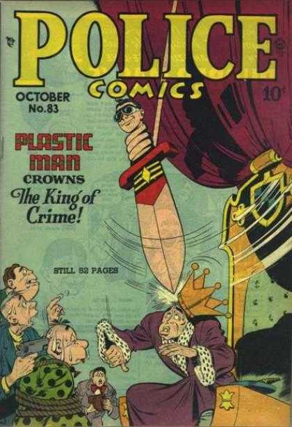 Police Comics 83 - No 83 - Plastic Man - The King Of Crime - Knife - Throne
