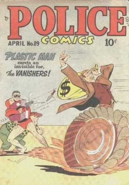 Police Comics 89 - Police - Man Running With Bag - April No89 - Plasti Man Meet An Invisible Foe - The Vanishers
