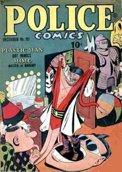 Police Comics 97 - Plastic Man - Mime - Armor - Knight - Mirror