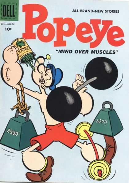 Popeye 43 - Dell - Stories - Mind - Muscles - Weight-lifting