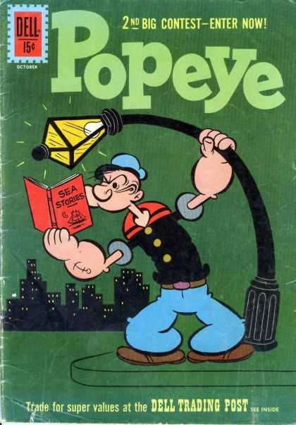 Popeye 61 - City Skyline - Bent Lamp Post - Sea Stories - Reading Book - 15u00a2