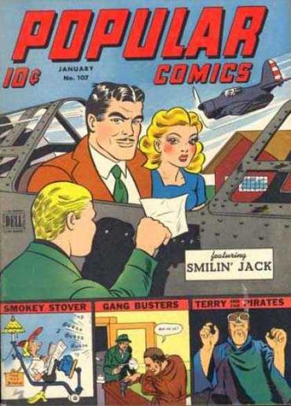 Popular Comics 107 - Airplanes - Smilin Jack - Smokey Stover - Gang Busters - Terry And The Pirates