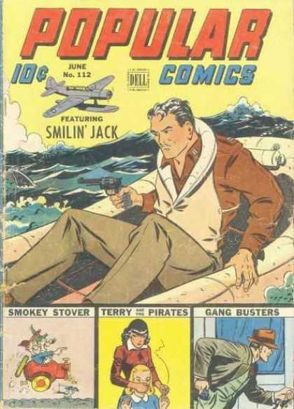Popular Comics 112 - Rocky Seas - Airplane - Revolver - Survival - Sharks