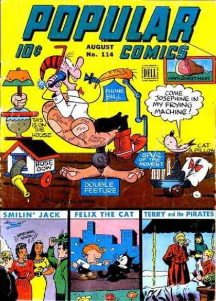 Popular Comics 114 - Man - Cat - Goofy Chair - Goofy Lamp - Goofy Hose