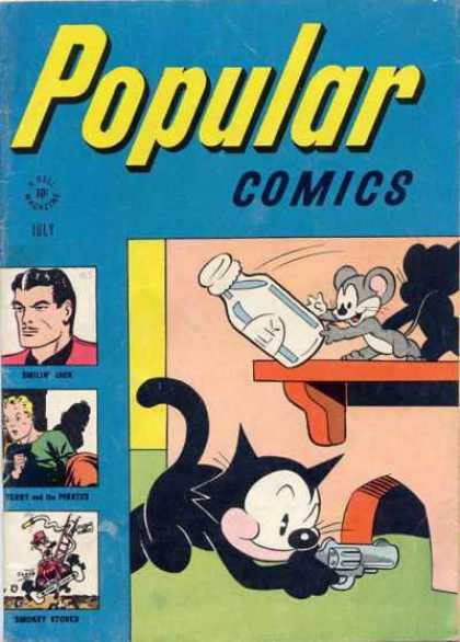 Popular Comics 125 - Cat - Mouse - July - Milk Bottle - Gun