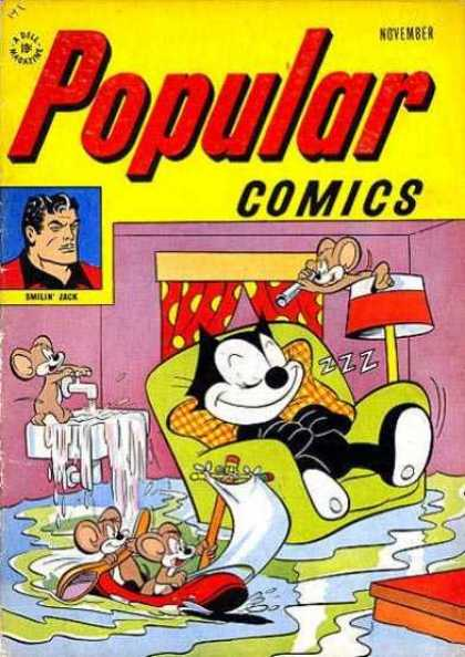 Popular Comics 141 - Man - Mouse - Cat - Chair - Water