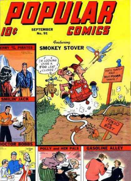 Popular Comics 91 - Smokey Stover - Smilin Jack - Jerry And The Pirates - Silly - Adventure