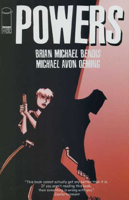 Powers 19 - Brian Michael Bendis - Michael Avon Oeming - Shadowy Figure Holding Gun - Blonde Haired Man With Gun - Red Background - Michael Oeming