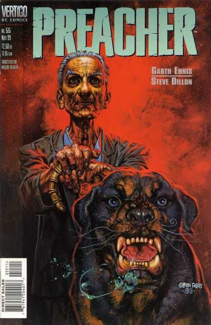 Preacher 55 - Wrinkled Old Man - Holding Can - Vicious Looking Dog - Drooling And Baring Teeth - Red Light