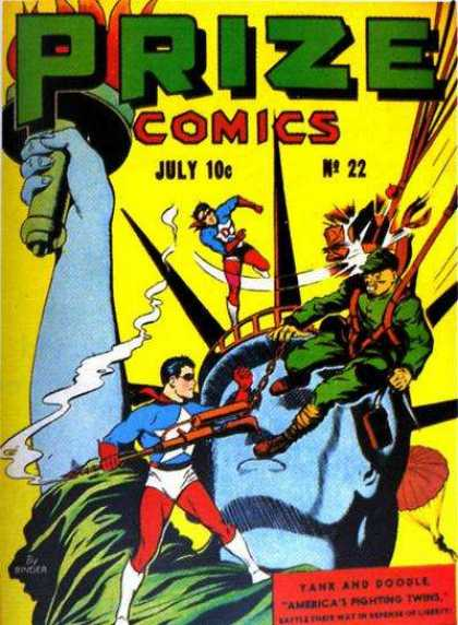 Prize Comics 22 - Statue Of Liberty - Tank And Doodle - Americas Fighting Twins - Paratroopers - Chain