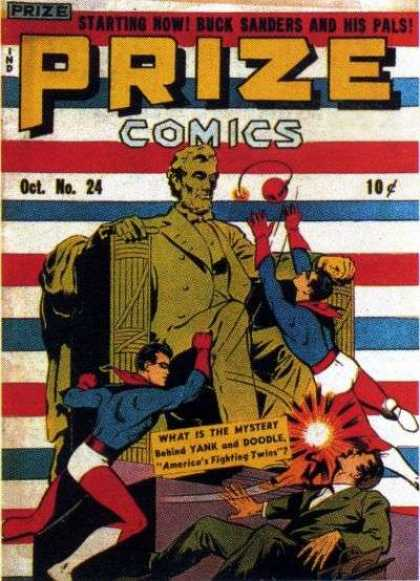 Prize Comics 24 - Starting - Buck Sanders - Pals - Red White And Blue - Abe Lincoln