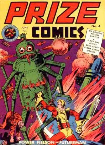 Prize Comics 4 - In The Future - Alien Fight - Smoke - Spaceship - Space Craft