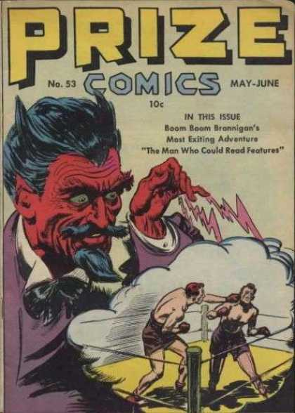 Prize Comics 53 - Boxers - The Man Who Could Read Features - Boom Boom Brannigan - Magician - Devil