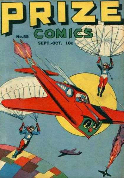 Prize Comics 55 - Red Airplane - Parachute - Prize Comics - Fire - Crash