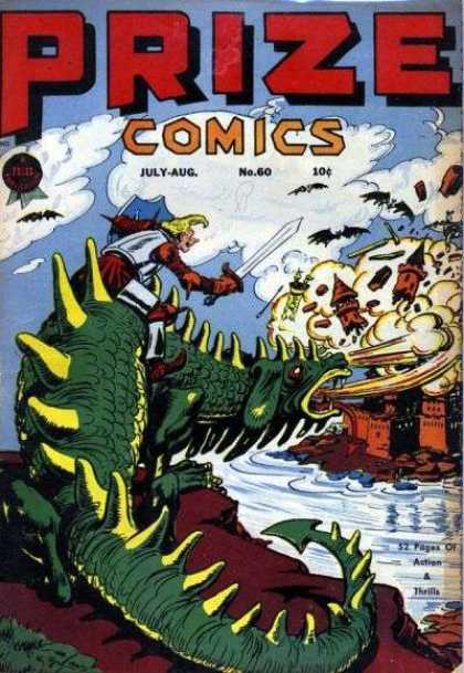 Prize Comics 60 - Dragon - Knight - Castle - Bats - Sword