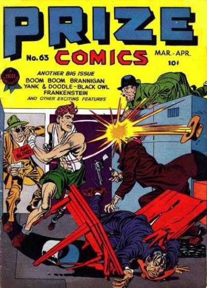 Prize Comics 63 - Boom Boom Brannigan - Yank U0026 Doodle - Black Owl - Frankenstein - Issue Number 63